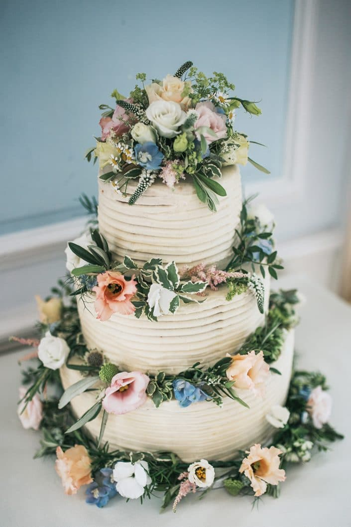 Cake at Harrowden Hall in Northamptonshire Wedding Photo