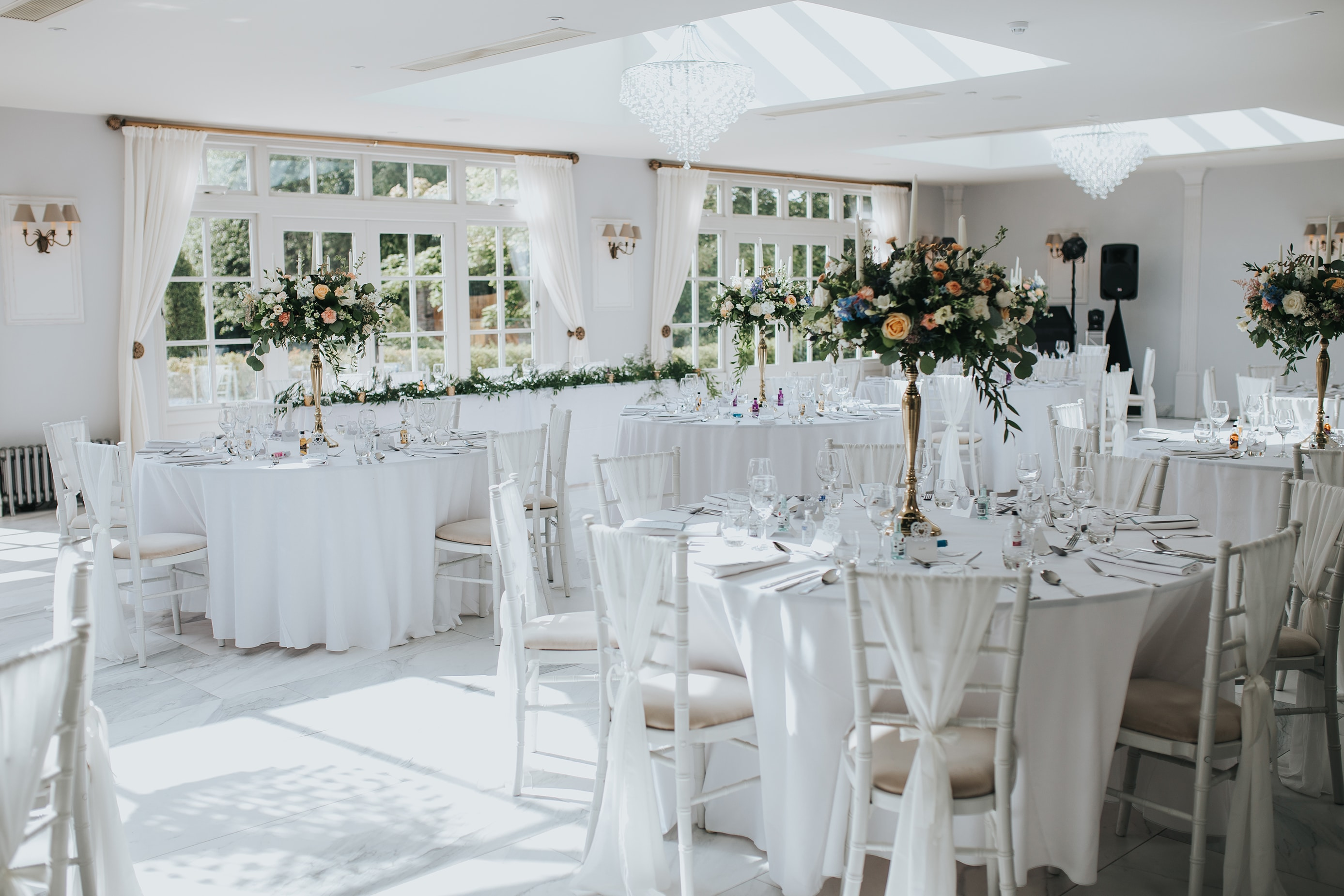 Marble Wedding Decor at Lemore Manor Wedding in Hereford