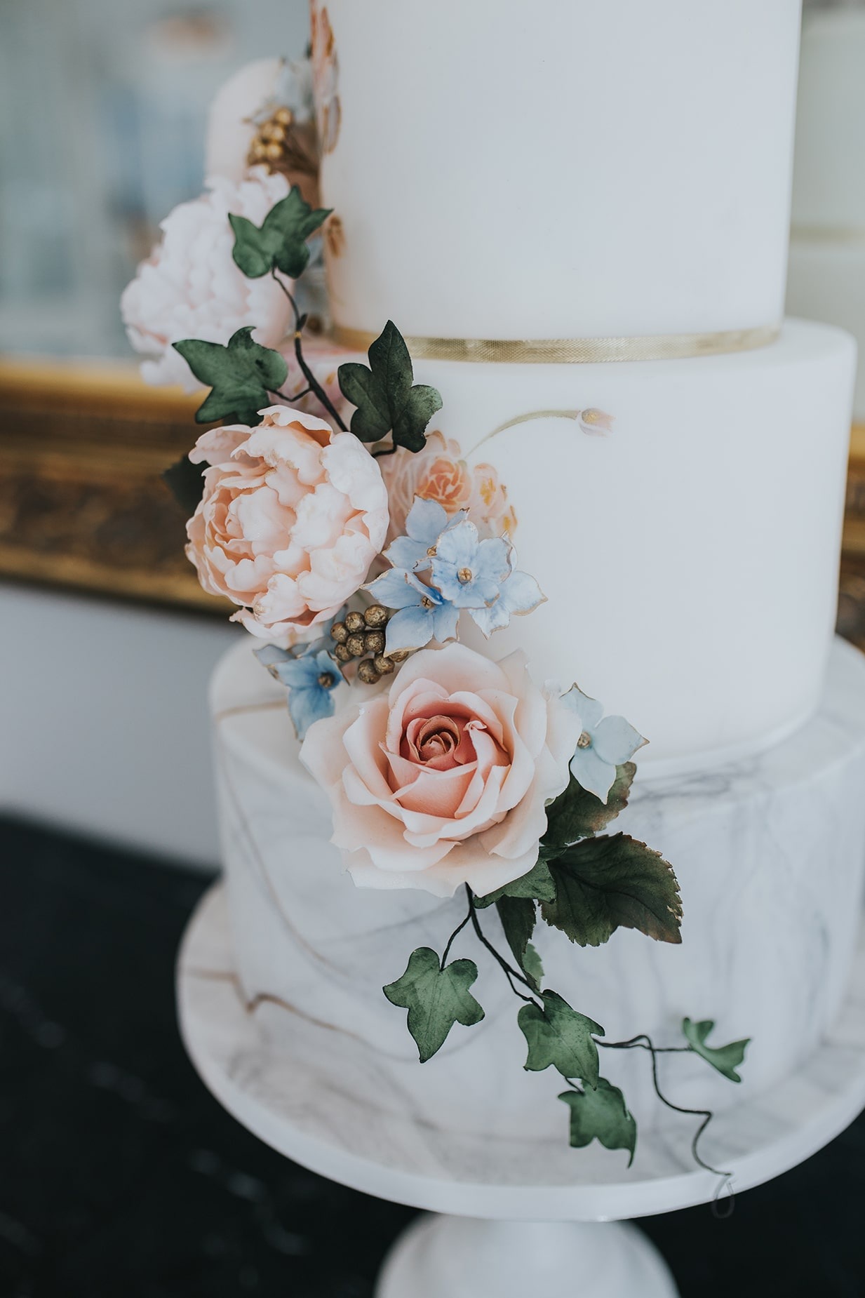 Floral Wedding Cake by McGowan Cakes at a Lemore Manor Wedding in Hereford