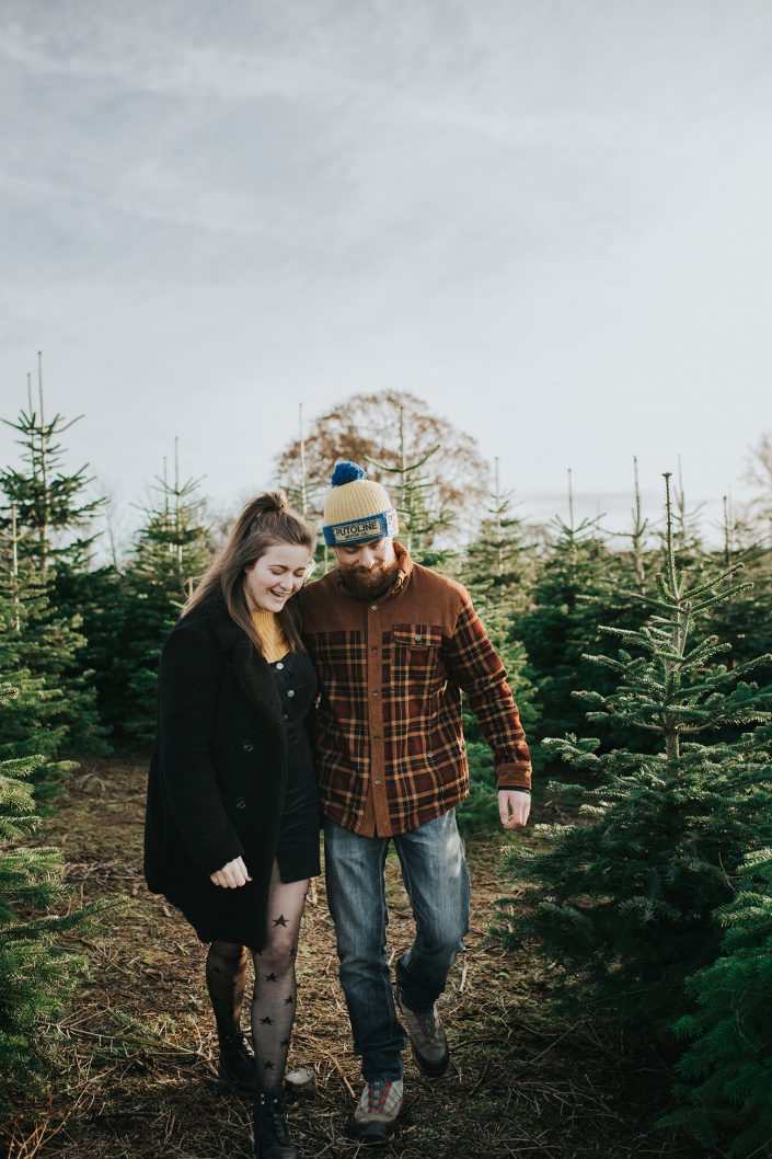 christmas engagement shoot northamptonshire christmas tree farm