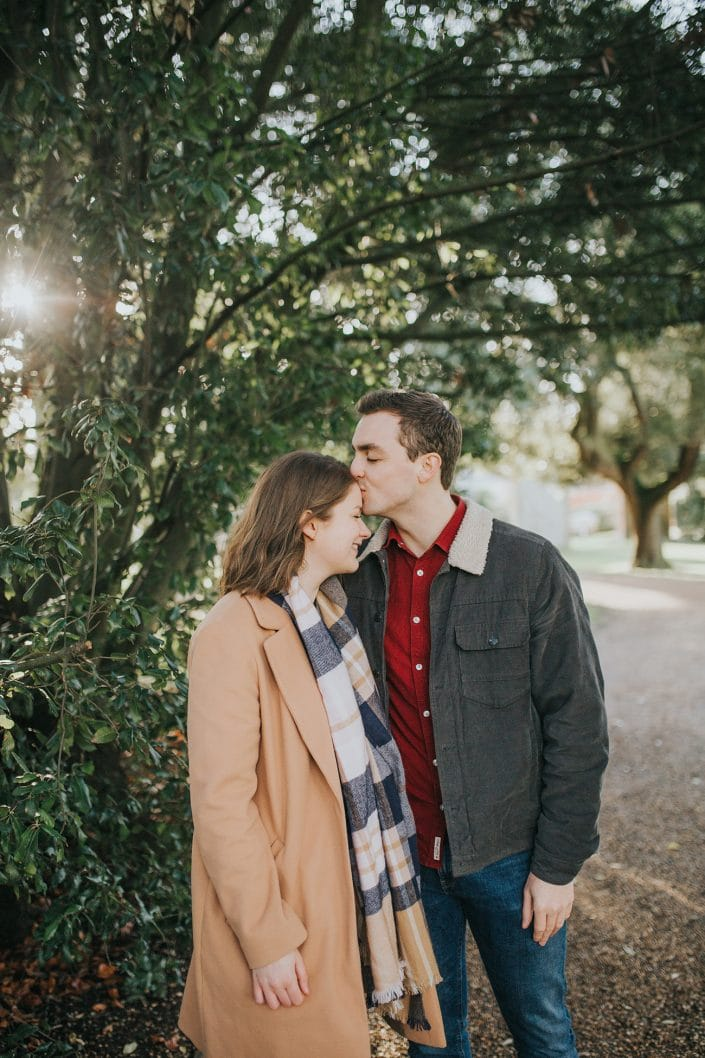 winter engagement session at Castle Ashby Gardens Northamptonshire